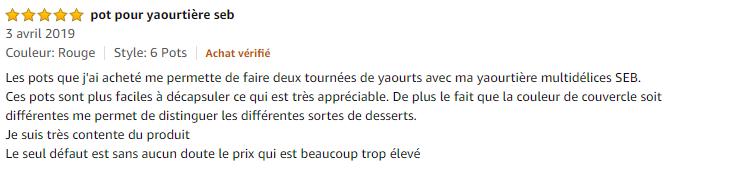 6 pots yaourtière Seb