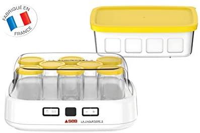 SEB Yaourtiere2 avec écran LCD 2 Programmes Automatique Yaourt 8 Pots Fromage Blanc Frais 1 L Livret de Recettes Inclus YG500210